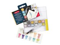 DERWENT METALLIC AQUARELL REISE-SET 1 12 NÄPFCHEN + WASSERTANKPINSEL